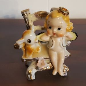 Vtg Angel and Puppy On a Chair Porcelain Figurine